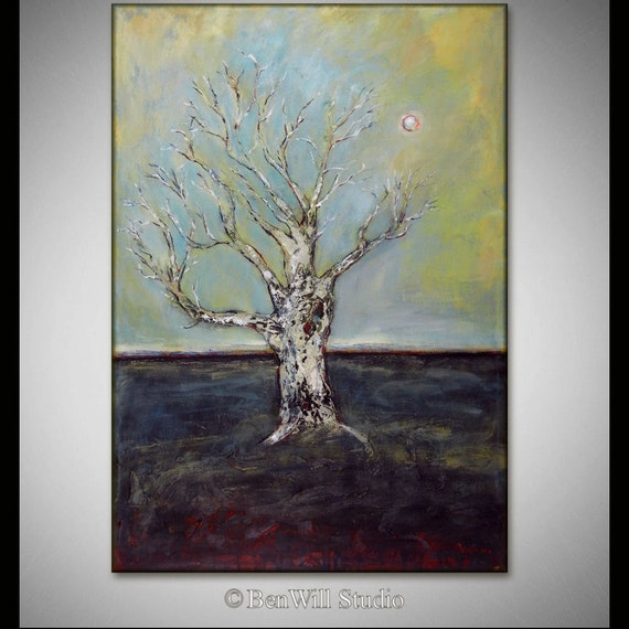 Abstract TREE Painting ORIGINAL Modern Art - White Gray Painting - WISDOM - Tree Art  40x28 Large Contemporary Art by BenWill