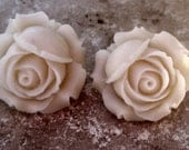 Ivory Rose Clip On Earrings, Cabbage Rose, Under 20, Wedding,