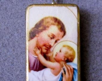 Saint Joseph Catholic Altered Art Recycled Domino Necklace Patron of Families J2