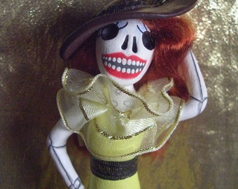 Day of the Dead Art Ornament Catrina Skeleton Halloween Decoration Redhead