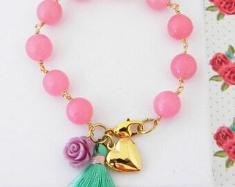Pale Pink Lavender Seafoam Pastel Tassel Gold Heart Locket Bracelet