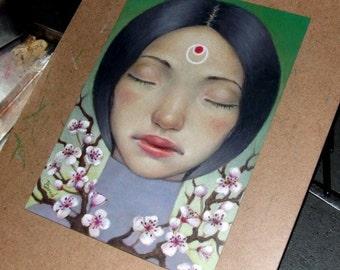 Kindness - original coloured pencil drawing illustration art by Tanya Bond - pop surrealism cherry blossom girl