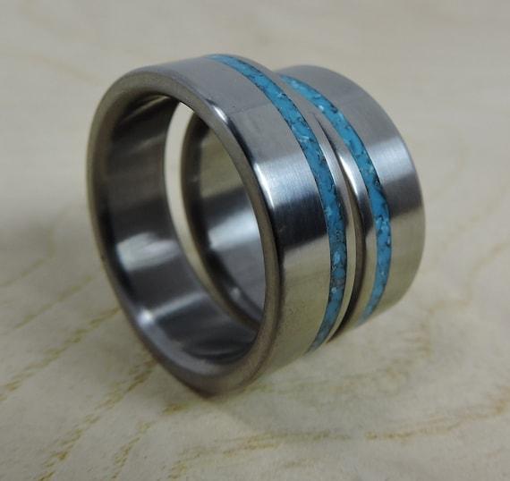 Wedding Rings, Titanium and Turquoise, Titanium Ring, Custom Made Ring, Turquoise Ring, His and Hers Rings, Wedding Band Set, Unique Ring