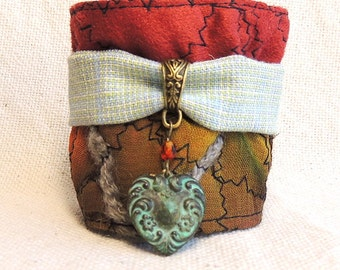 Fabric Cuff Bracelet with button of polymer clay