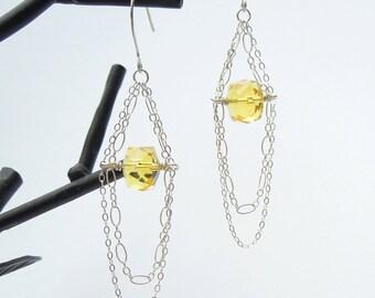 Yellow Gemstone Earrings, Sterling Silver, Citrine