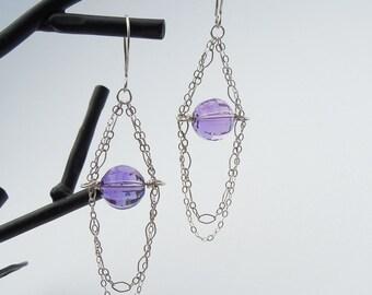 Purple Violet Gemstone Earrings, Sterling Silver, Amethyst