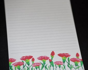 Field of Red Poppies, stationery set, letter writing set, hand written letters, 30 pieces, tall and skinny personal correspondence