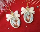 Deer in the Snow Cameo Earrings