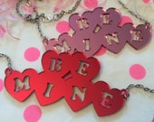 BE MINE Acrylic Necklace in Mirrored Pink or Red