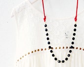 Black Bead Chain and Red Leather Strand Necklace