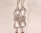 Citrine faceted Pear hoop earrings SS