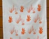 Tea Towel - Cactus Repeat Pattern illustration printed in water based pale coral ink