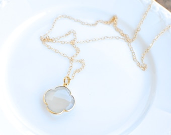 Natural Chalcedony Clover Necklace. Gold Filled Chain. Fine Jewelry.