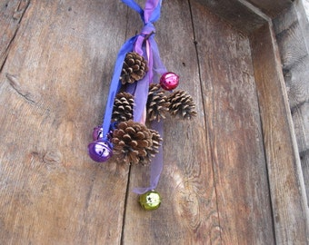 PINE CONE RIBBONS holiday decoration with four BELLs