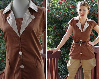 The HUNT 1920's 30's Vintage Chocolate Brown Striped Cotton Tunic Shirt with Cinch Waist // size Small Med