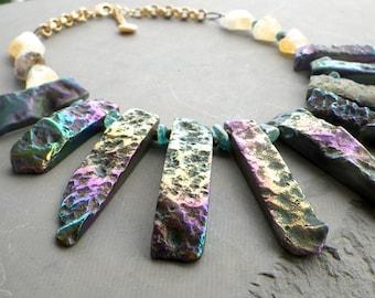 blue titanium agate statement necklace, agate collar necklace, gemstone collar necklace, blue apatite citrine