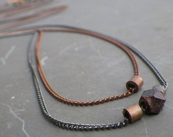 simple bead chain necklace, delicate layered necklaces, copper bead necklace