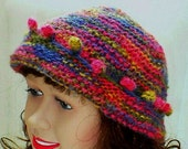Slouchy hat, brimmed beanie hat, fuchsia red blue mustard olive mohair hat, women's hat, knit hat, slouchy beanie, cloche hat, chemo cap