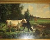 Antique 1920s Robert Atkinson Fox Original Oil Cow Painting Pastoral Scene Signed Restored Framed