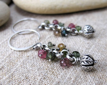 Silver & Tourmaline Spiral Earrings