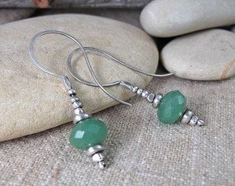 Minty Green Aventurine on Sweeping Silver Earrings