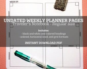 Traveler's Notebook Printable Weekly Planner - regular - undated