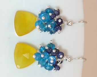 Caught - lemon chalcedony, neon apatite, lapis and sterling silver earrings