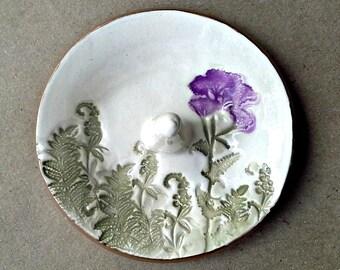 Ceramic  Ring Holder Bowl Purple Flower Off White