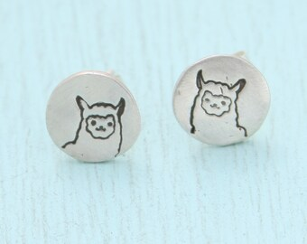 LLAMA studs, eco-friendly silver earrings, Illustration by BOYGIRLPARTY.  Handcrafted by Chocolate and Steel.