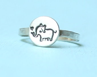 ELEPHANT stacking ring, eco-friendly silver or 14kt gold vermeil, illustration by BOYGIRLPARTY.  Handcrafted by Chocolate and Steel