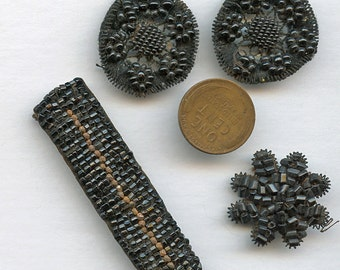 Antique Victorian Bead Work 4 Pieces Hand Worked Pieces Vintage 9721