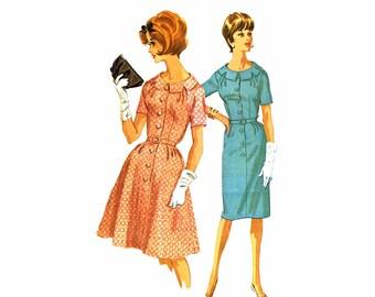 1960s Slim or Full Skirt Dress Pattern McCalls 6331 Vintage Sewing Pattern Womens Sheath Sheath Dress Misses Half Size 16 1/2 Bust 37
