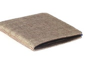 Personalised Men's Wallet Vegan Herringbone tweed Billfold 7 pocket Standard size bifold Coffee brown Lining Groomsmen gift