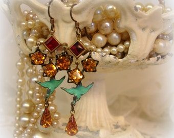 bye bye biRdie vintage assemblage earrings . pUnched up color combo red topaz and turquoise
