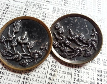 Two, Victorian, Large, Flowers, Metal, Picture Buttons.