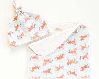 Frisky Horses Organic Cotton Baby Hat and/or Burp Cloth | Original Fabric Design
