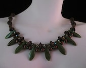Czech Glass Picasso Dagger Crystal Necklace; Copper Mossy Tribal Goddess delicate jewelry