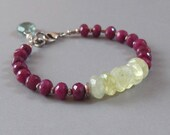 Ruby Prehnite Moss Aquamarine Bracelet Sterling Silver Bead DJStrang Boho Cottage Chic Red Green Gemstone