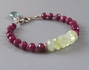 Ruby Prehnite Moss Aquamarine Bracelet Sterling Silver Bead DJStrang Boho Cottage Chic Red Green Gemstone