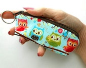Mini Key Chain Zipper Pouch ECO Friendly Padded Lip Balm Case Blue Flapper Owls