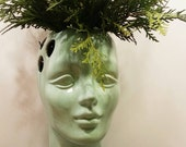 Handmade Ceramic Female Head Vase in Jade. Perfect for home, office or retail space. Vintage mold with modern color.