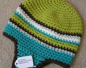 Baby Earflap Hat Size  3 to 6 months Hand Crochet in Green,Blue, Brown and White  Ready to Ship