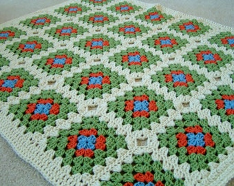 Baby  Granny Square Blanket  in Green, Blue, Orange and Cream Ready to Ship