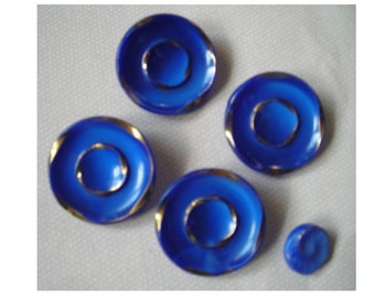 Five Vintage Blue and Gold Glass Buttons