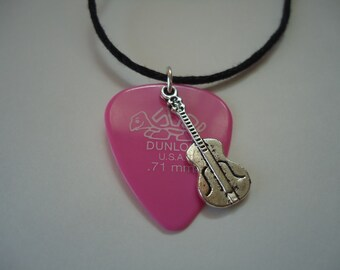 Pink guitar pick pendant necklace, guitar pick charm pendant, musician necklace, guitar pendant necklace, guitar pick music charm pendant