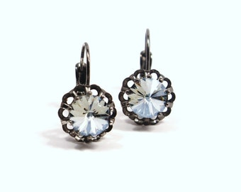 Denim Blue Crystal Drop Earrings Classic Sparkling Light Baby Sky Sapphire Shade Swarovski Dark Oxidized Genmetal Gold Basket Drop Slate