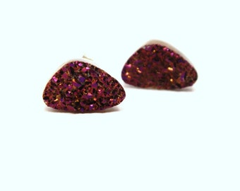 Purple Druzy Stud Earrings Metallic Hot Fuchsia Geometric Triangle Pink Genuine Titanium Drusy Quartz Gemstone Jewelry Sterling Silver Posts