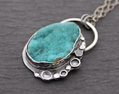 RESERVED.....Frosty Blue Hemimorphite Druzy Milky Aquamarine and Sterling Silver Gemstone Necklace