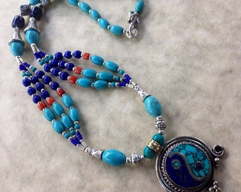 Free shipping  Blue Turquoise and lapis necklace  ying pendant   gemstone jewelry  India style beaded 3 strand gift for her