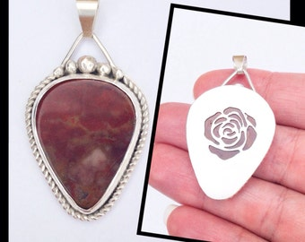 Rusty Red Jasper Stone with Rose Flower - Reversible Pendant - Artisan Metalwork with Handmade Bail and Saw Piercing
